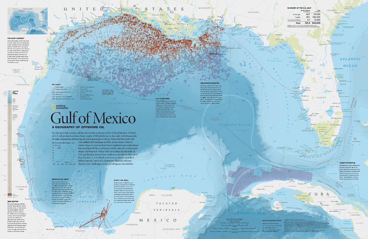 Oil Rigs In Gulf Of Mexico Map.Gulf Of Mexico A Geography Of Offshore Oil National Geographic
