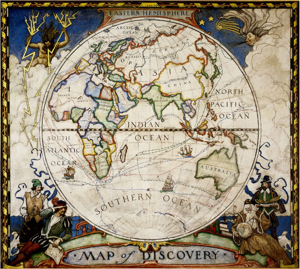 1927 map of discovery eastern hemisphere national geographic society