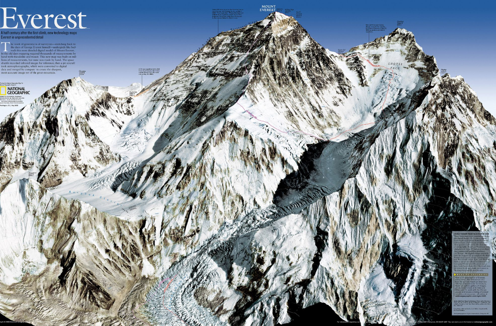 2003 Mount Everest 50th Anniversary 3-D Map