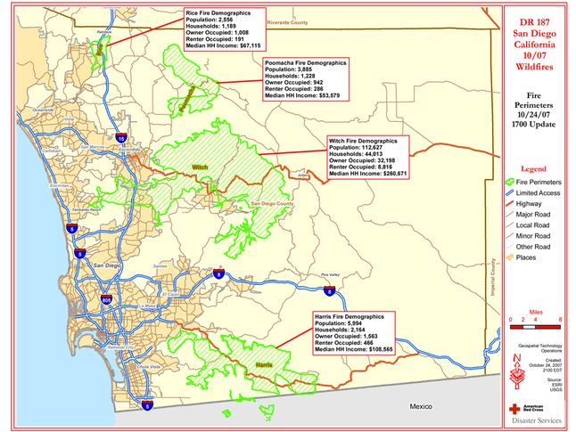 San Diego Map Area.Wildfires In San Diego National Geographic Society