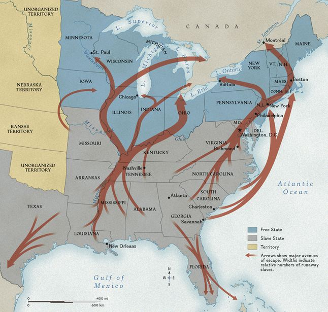 The Underground Railroad National Geographic Society - Map of northeastern us and canada