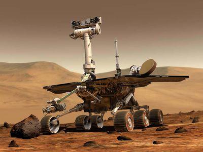 Illustration: Mars Rover Explorer gathers data on Mars