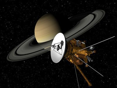 Illustration: Cassini space probe with Saturn in the background