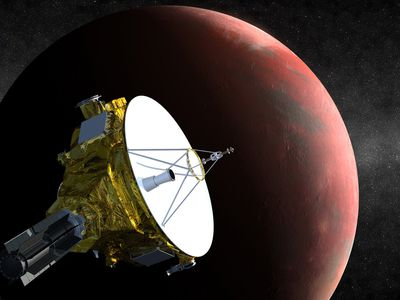 Illustration: New Horizons space probe flies by Pluto