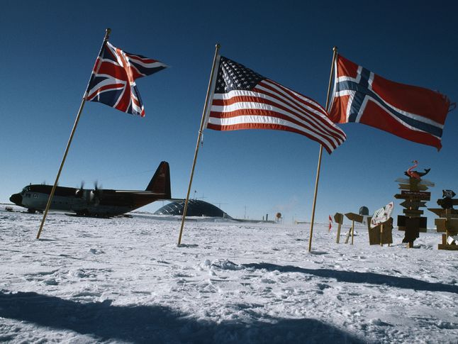 Flags at the South Pole