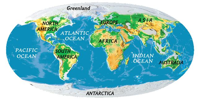 Continents National Geographic Society - Map showing continents and oceans