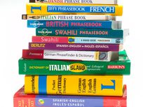 Photo: Stack of foreign-language dictionaries, translation guides, and phrasebooks.
