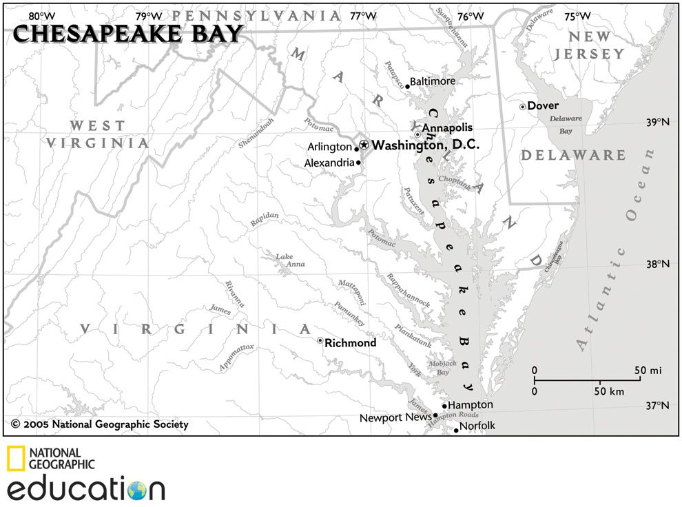 Chesapeake Bay Map Gallery | National Geographic Society on