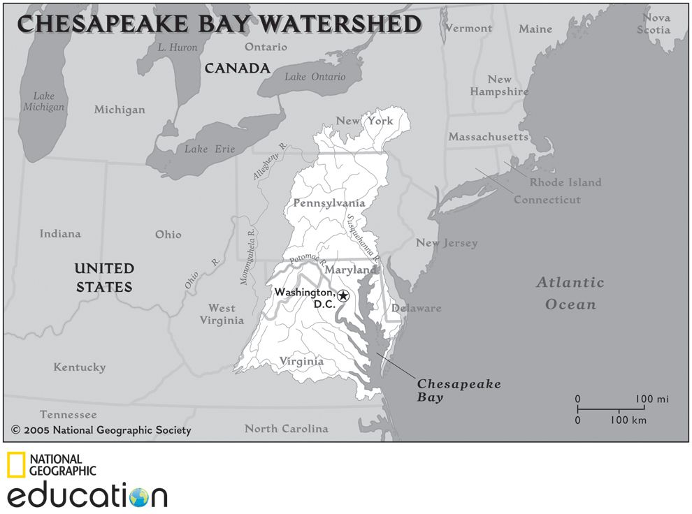 Chesapeake Bay Map Gallery National Geographic Society - Us map chesapeake bay