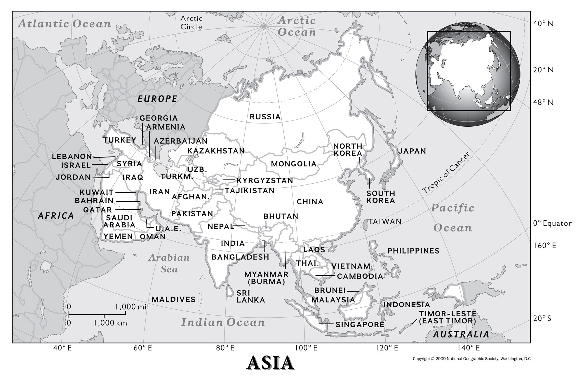 Asia Physical Geography National Geographic Society - Blank us map with geographical features