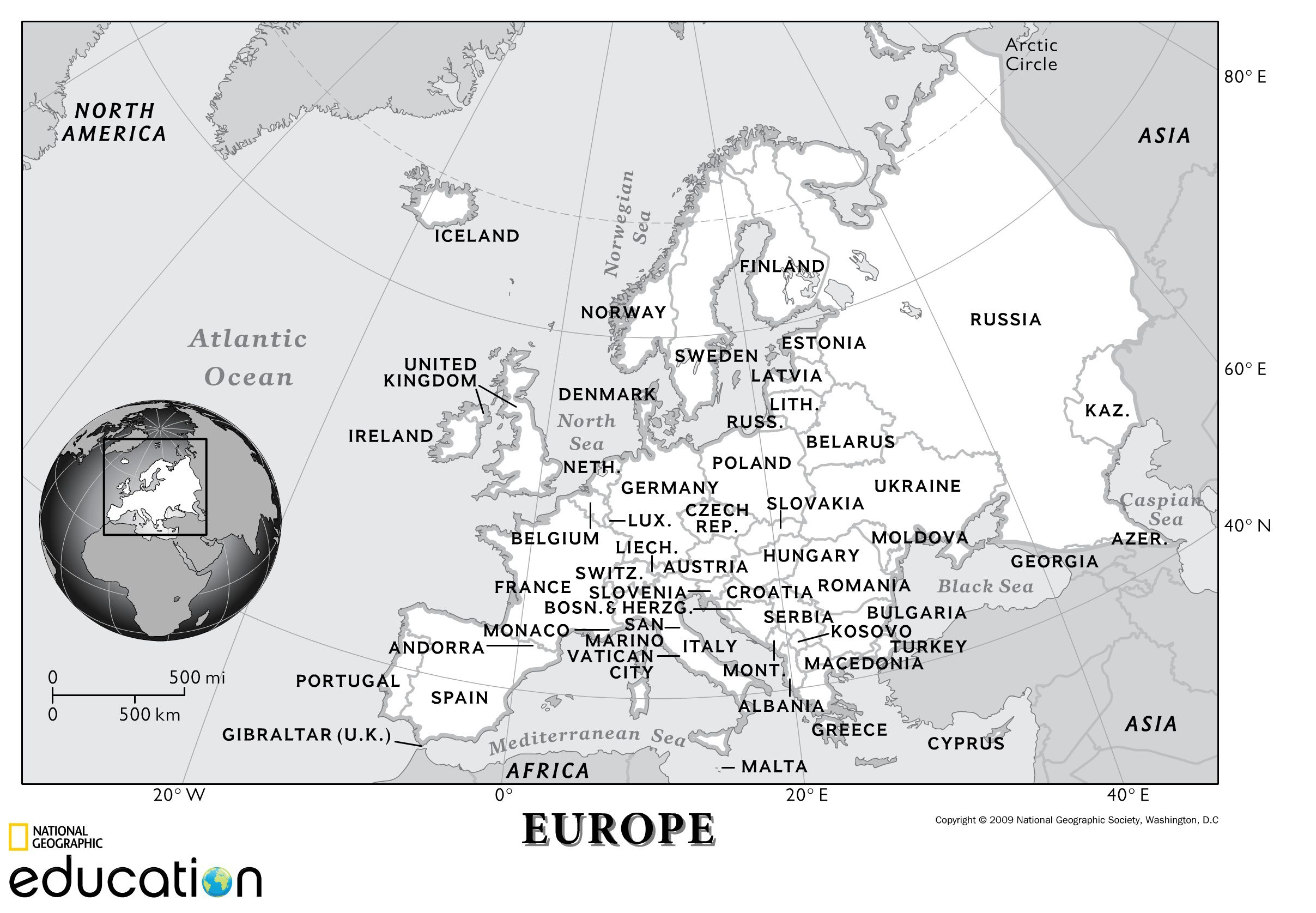 Europe Physical Geography National Geographic Society – Middle School Geography Worksheets