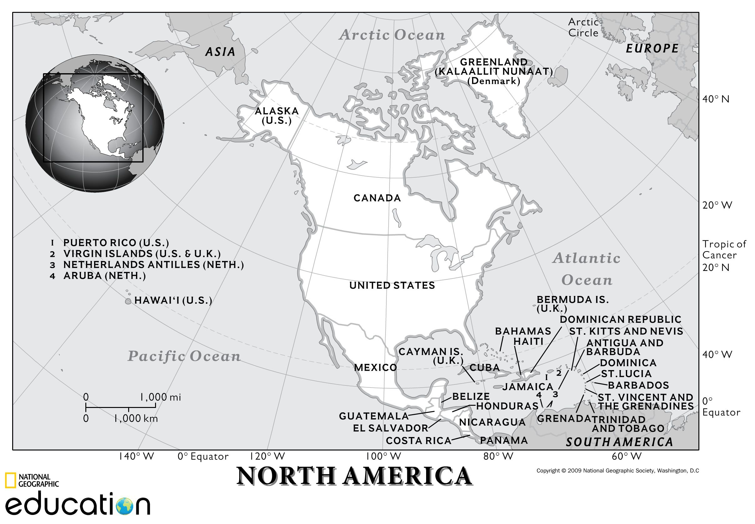 North America Resources National Geographic Society - Blank us map with geographical features