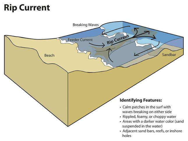 Rip Currents Are Formed By A Beachs Topography Sandbars Reefs Or Inshore Holes Can Lead To The Formation Of Current