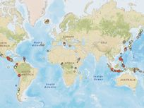 Photo: An interactive map of volcanoes around the world.