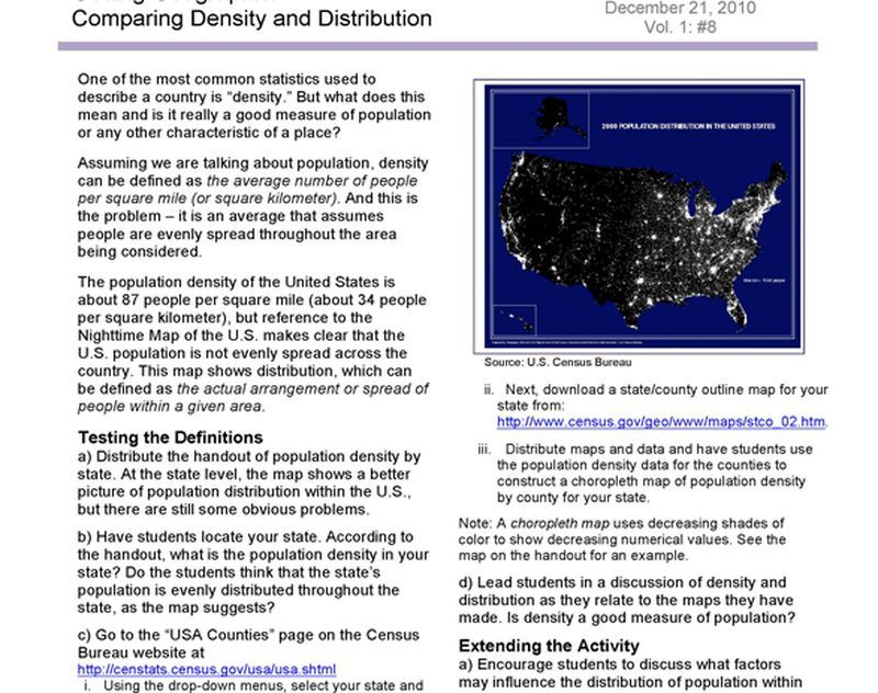 Comparing Density and Distribution   National Geographic Society