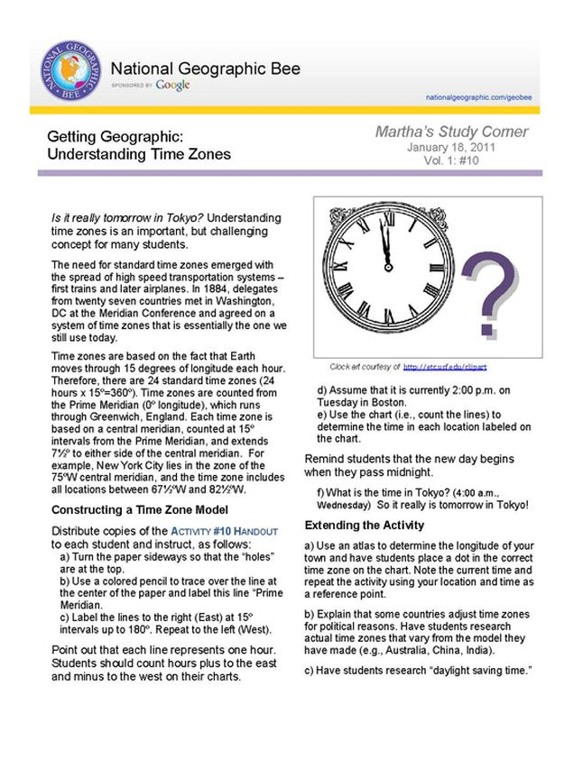 Understanding Time Zones National Geographic Society