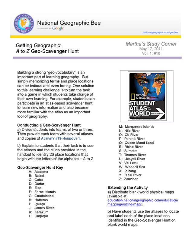 A to z geo scavenger hunt national geographic society getting geographic gumiabroncs Gallery