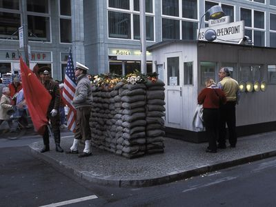 Photo: Checkpoint Charlie along the former Berlin Wall, Berlin, Germany.