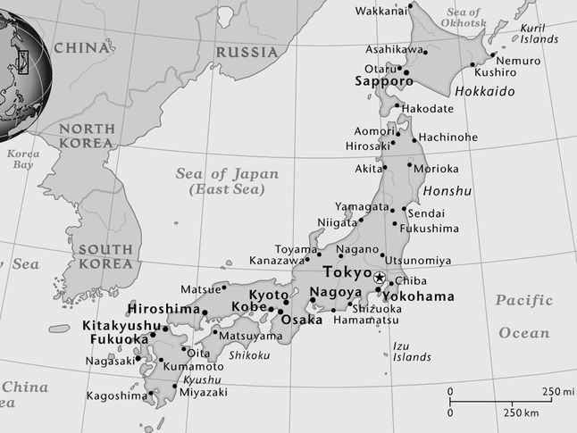 Japan National Geographic Society - Japan map black and white