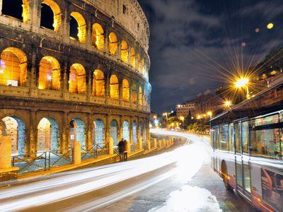 Photo: A night around the Colosseum.
