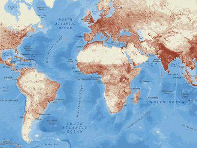 Population Density National Geographic Society - World density map