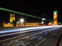 Photo: A clock tower at night