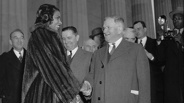 <p>Both Marian Anderson and Harold L. Ickes (shaking hands) were longtime supporters of civil rights, and remained committed to securing justice for African Americans for the rest of their lives.</p>