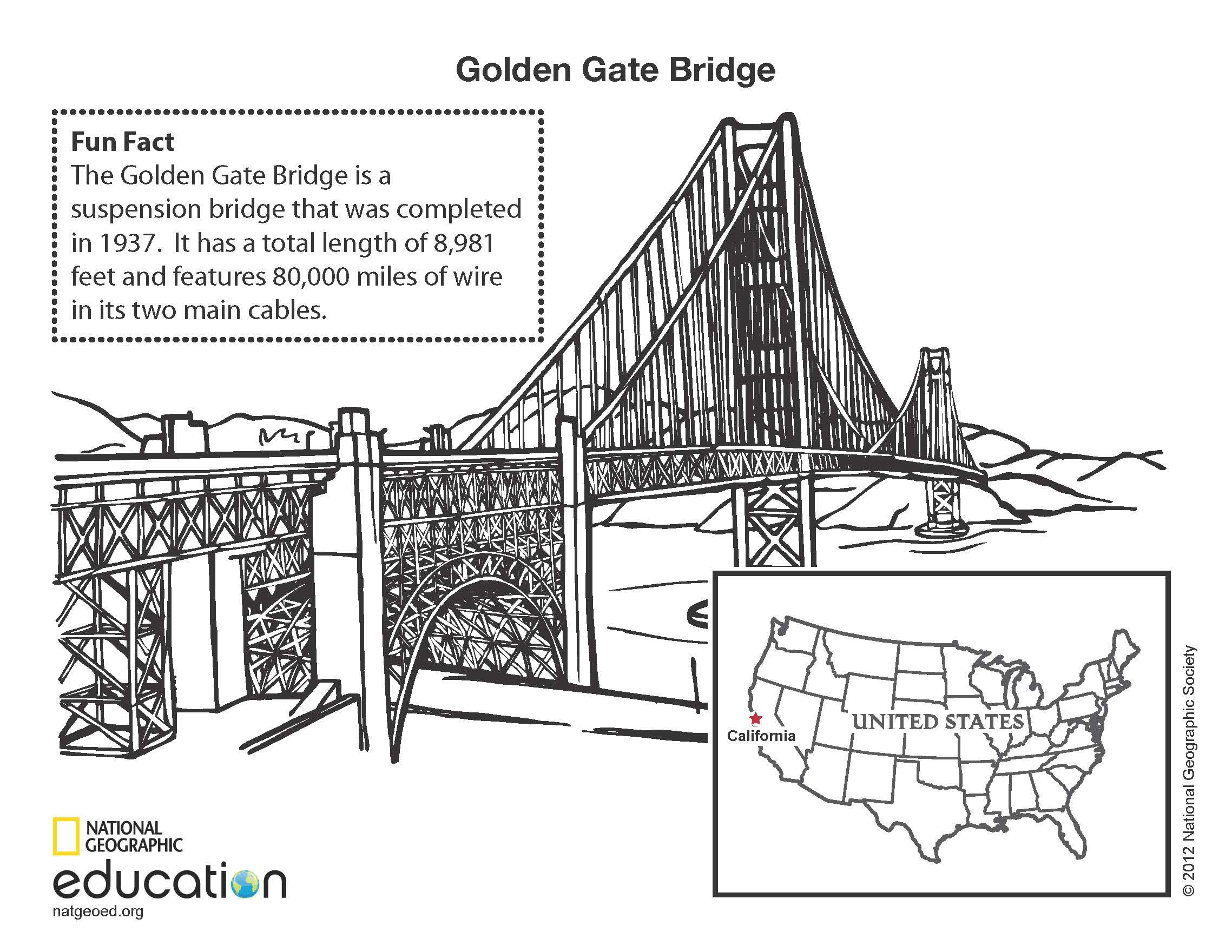 Printable coloring pages golden gate bridge - Golden Gate Bridge Illustration By Mary Crooks Download This File