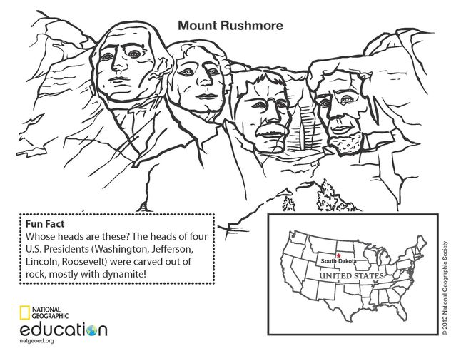 patriotic coloring pages mount rushmore - photo#18