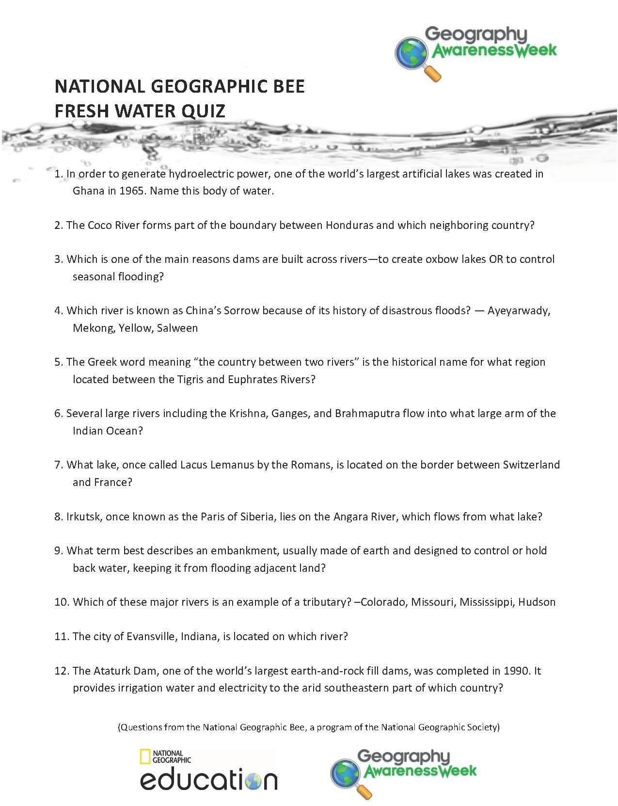 Freshwater Quiz Questions | National Geographic Society