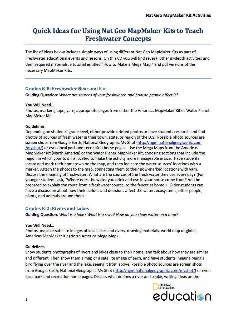 Mapmaker Kit Freshwater Activity Ideas National Geographic Society