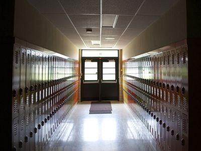 A school hallway vacant of students.