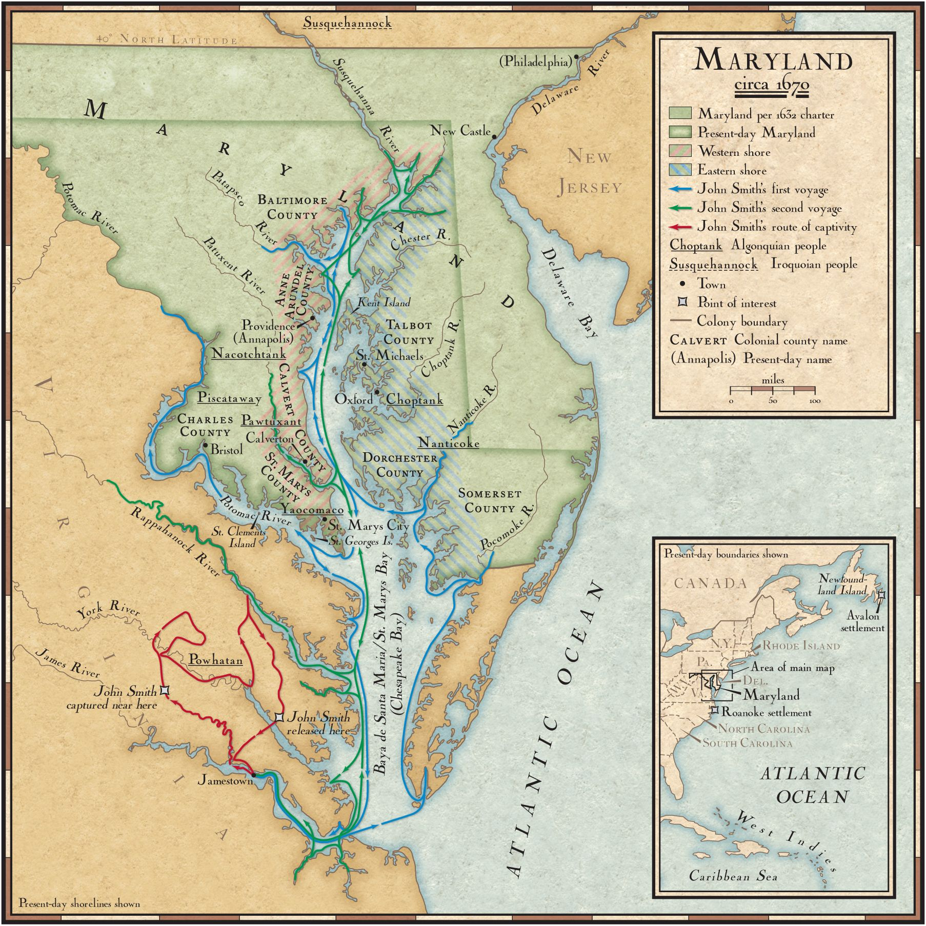 John Smith\'s Exploration Routes in the Chesapeake Bay | National ...
