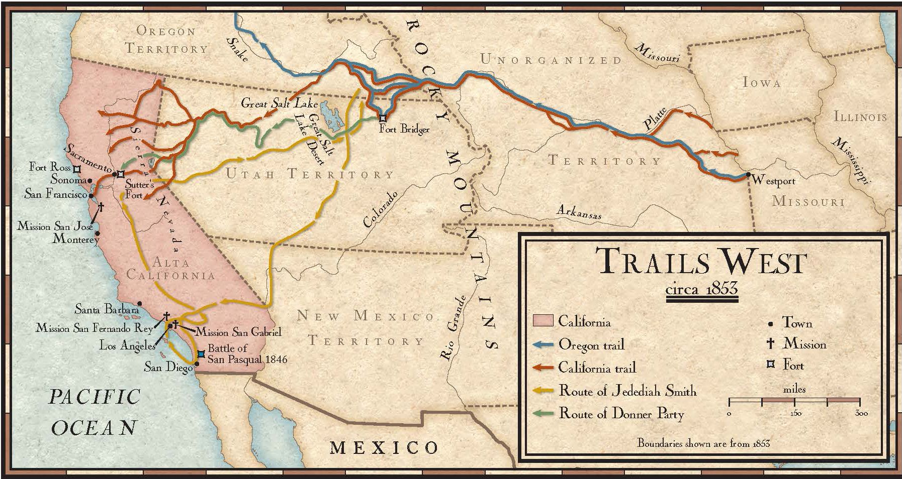 Trails West In The Mids National Geographic Society - 1800s us mid western states maps