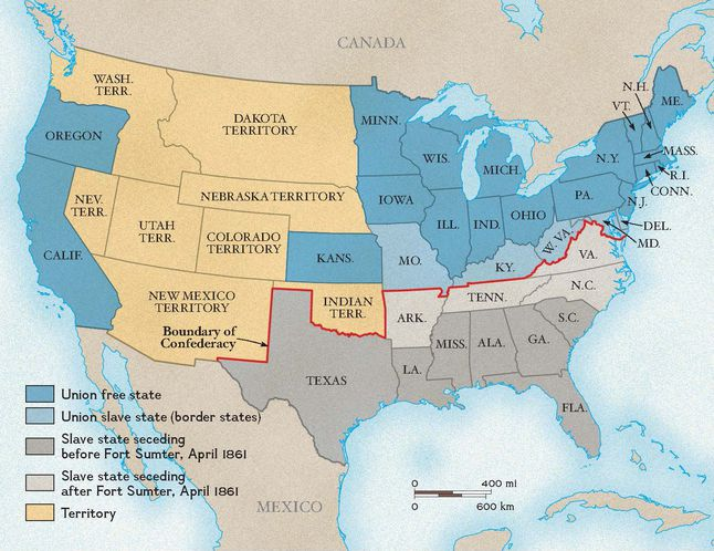 Boundary Between The Union And Confederacy National: Map Of Usa In 1861 At Codeve.org