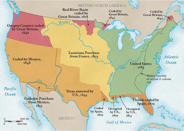 in less than 50 years the western border of united states grew from the mississippi river to the pacific ocean starting with the louisiana purchase and