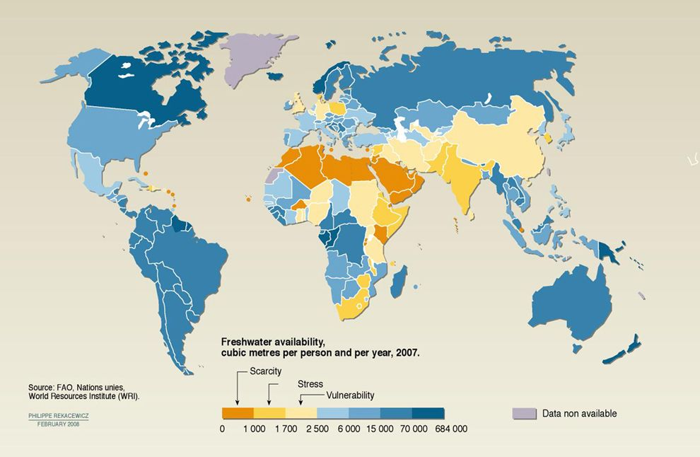 World Map Water.Freshwater Availability National Geographic Society