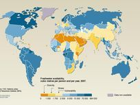 A map showing freshwater availability in countries around the world.