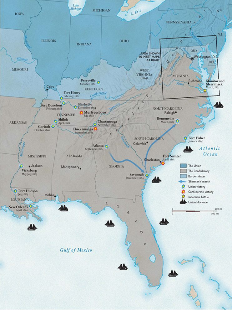 The Battles Of The Us Civil War National Geographic Society - Us-civil-war-map-of-battles