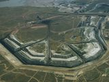 Picture of an aerial view of Decker coal strip mining.