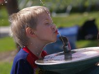 Photo of a young boy drinking from a water fountain.