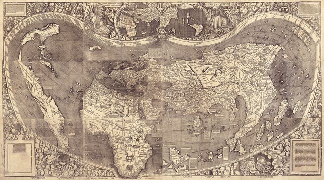 World map 1507 national geographic society published in 1507 and composed of 12 individual sheets martin waldseemllers world map is the first known to bear the name america in describing the gumiabroncs Images