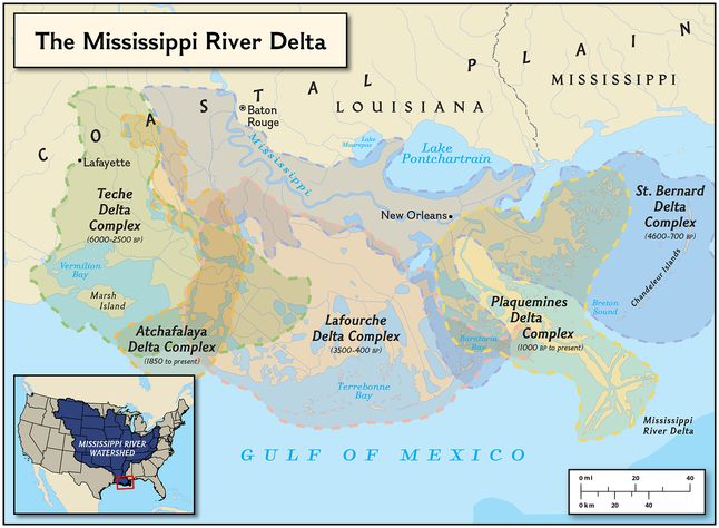 as the course of the mississippi river changed over the last 6000 years sedimentary deposits resulted in a series of 16 distinct river deltas