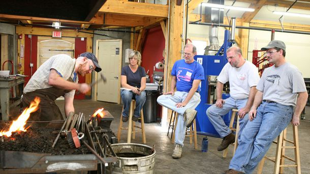 "<p class=""p1"">Blacksmithing, at the new (2010) Clay Spencer Blacksmith Shop, is another popular class at the school.</p>"