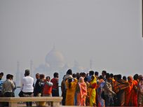Photograph of Taj Mahal in India with pollution obscuring view.
