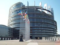 Photograph of the European Parliament building in Strasbourg, France.