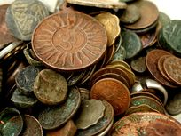 Photograph of antique coins from India.