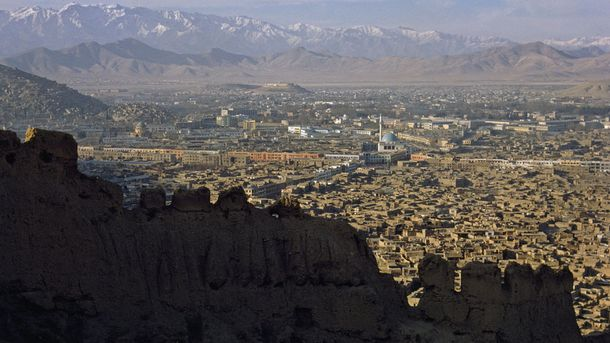 """<p class=""""p1"""">Kabul, Afghanistan's capital and largest city, sprawls in a valley beneath the Hindu Kush. Despite Afghanistan's strategic location and natural resources, it is plagued by violence. """"[T]the country itself is kind of fractured,"""" Hiebert says. """"There's a lot of inter-valley competition.""""</p>"""