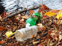 Photo of water bottles as pollution.