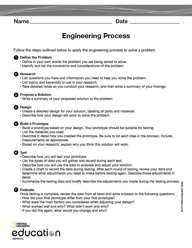 Engineering Process National Geographic Society